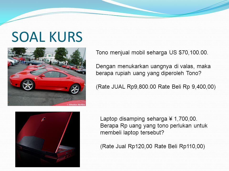 SOAL KURS Tono menjual mobil seharga US $70,100.00. Dengan menukarkan uangnya di valas, maka berapa rupiah uang yang diperoleh Tono? (Rate JUAL Rp9,80