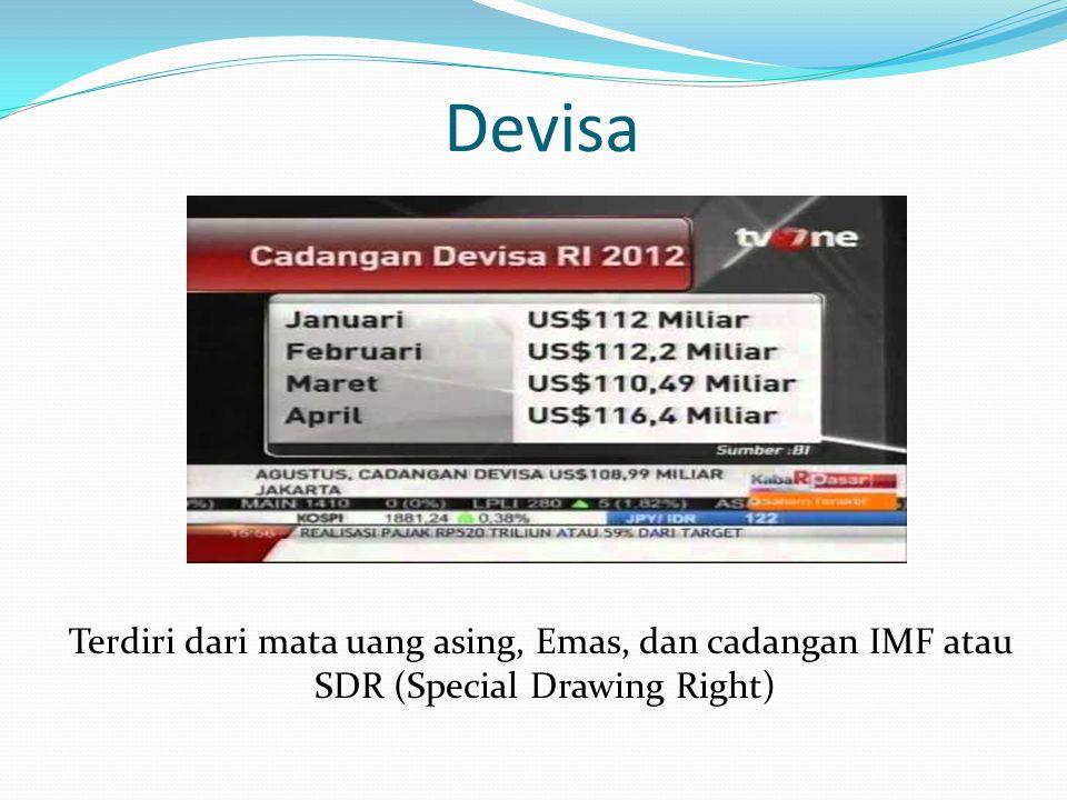 Devisa Terdiri dari mata uang asing, Emas, dan cadangan IMF atau SDR (Special Drawing Right)