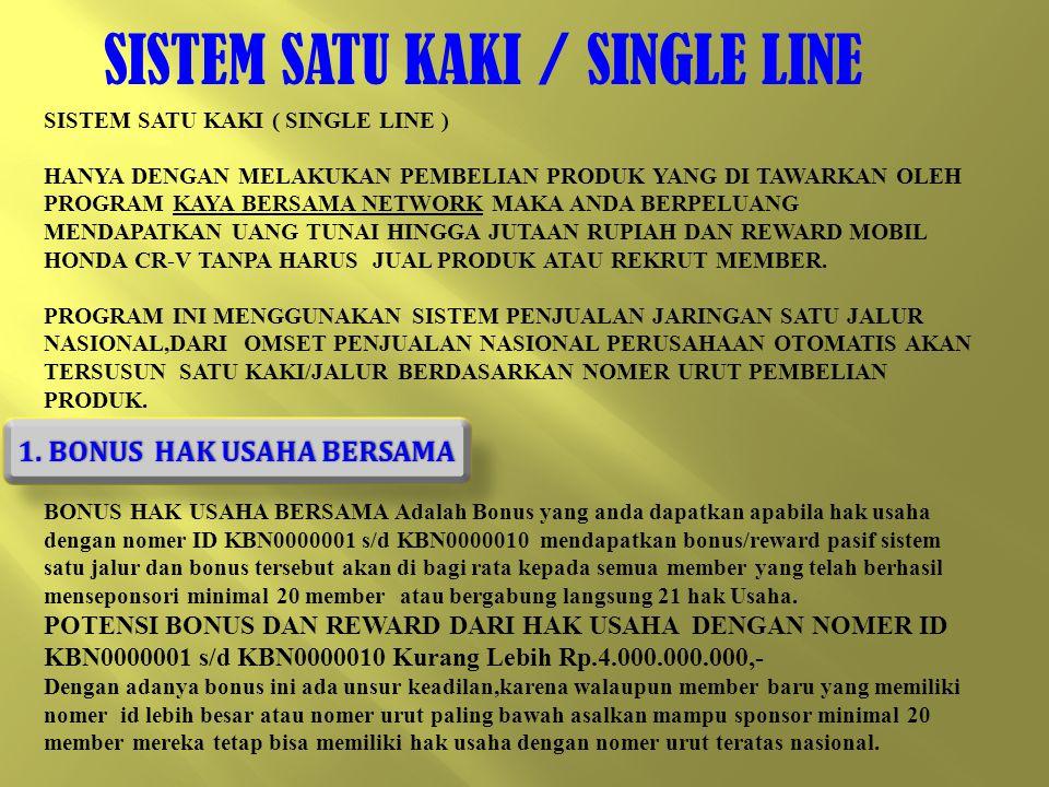 SISTEM SATU KAKI / SINGLE LINE SISTEM SATU KAKI ( SINGLE LINE ) HANYA DENGAN MELAKUKAN PEMBELIAN PRODUK YANG DI TAWARKAN OLEH PROGRAM KAYA BERSAMA NETWORK MAKA ANDA BERPELUANG MENDAPATKAN UANG TUNAI HINGGA JUTAAN RUPIAH DAN REWARD MOBIL HONDA CR-V TANPA HARUS JUAL PRODUK ATAU REKRUT MEMBER.