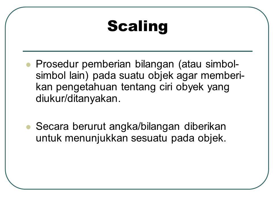 Scaling  Prosedur pemberian bilangan (atau simbol- simbol lain) pada suatu objek agar memberi- kan pengetahuan tentang ciri obyek yang diukur/ditanyakan.