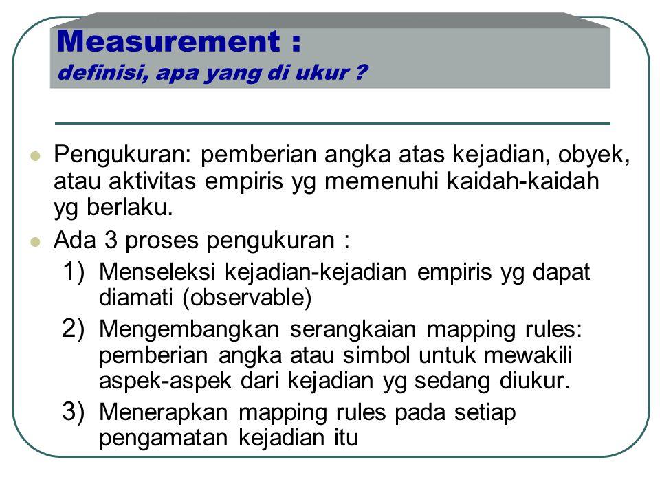 Measurement : definisi, apa yang di ukur ?  Pengukuran: pemberian angka atas kejadian, obyek, atau aktivitas empiris yg memenuhi kaidah-kaidah yg ber