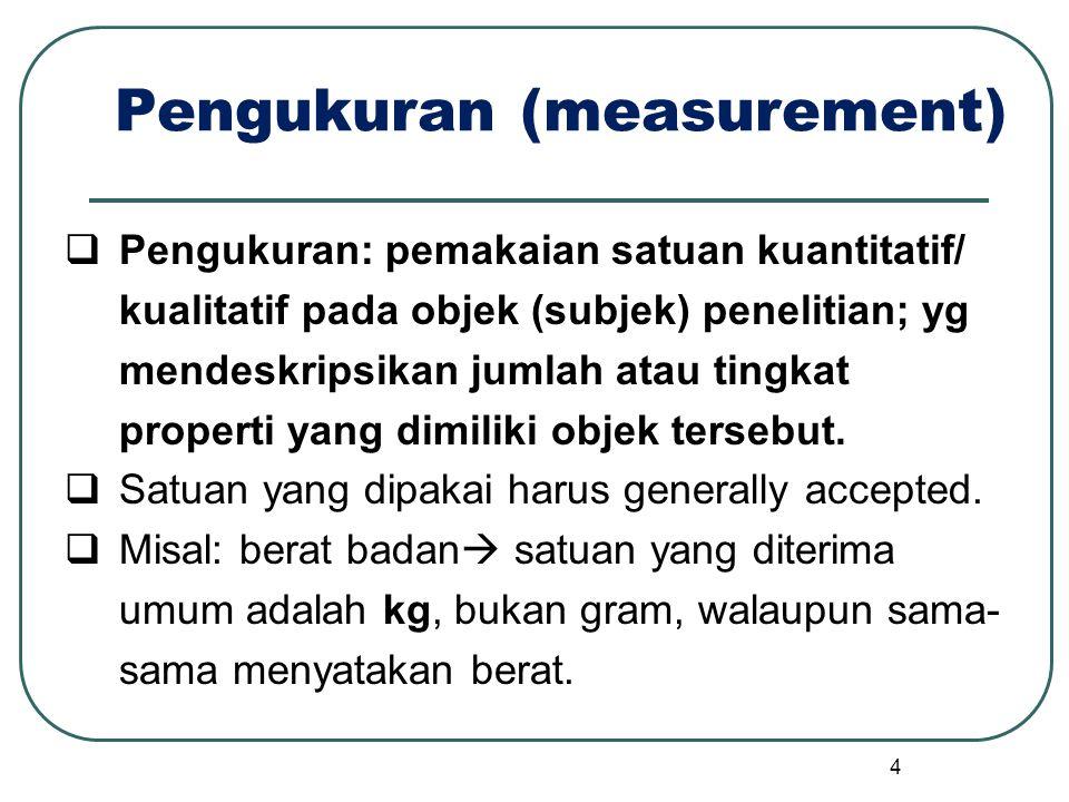 Pengukuran (measurement)  Pengukuran: pemakaian satuan kuantitatif/ kualitatif pada objek (subjek) penelitian; yg mendeskripsikan jumlah atau tingkat properti yang dimiliki objek tersebut.