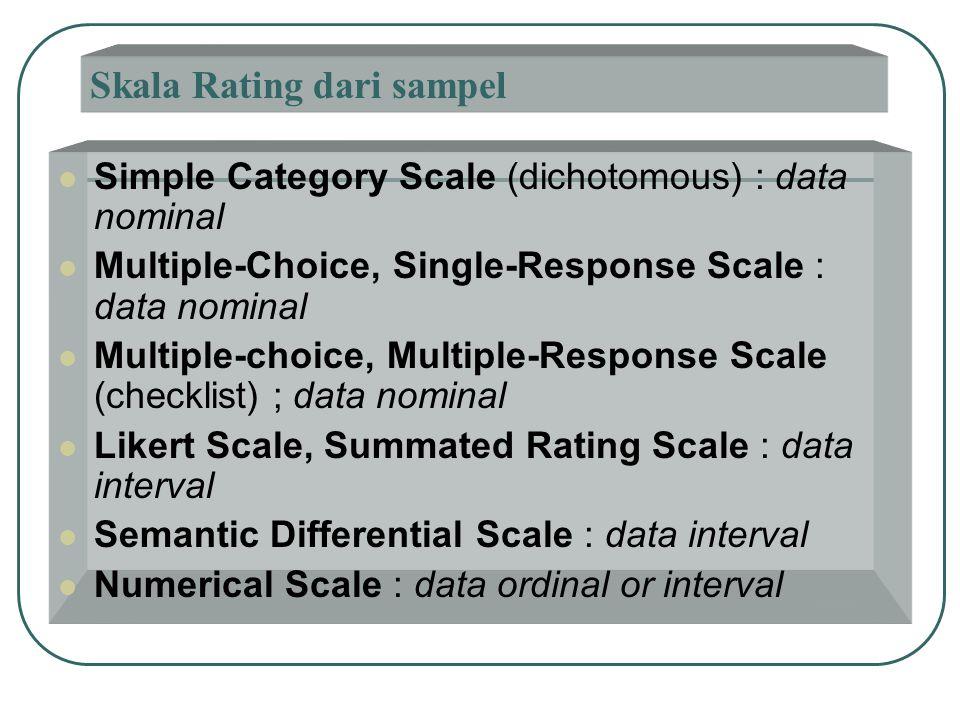 Skala Rating dari sampel  Simple Category Scale (dichotomous) : data nominal  Multiple-Choice, Single-Response Scale : data nominal  Multiple-choic