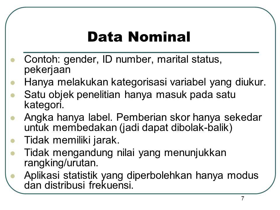 Data Nominal  Contoh: gender, ID number, marital status, pekerjaan  Hanya melakukan kategorisasi variabel yang diukur.  Satu objek penelitian hanya