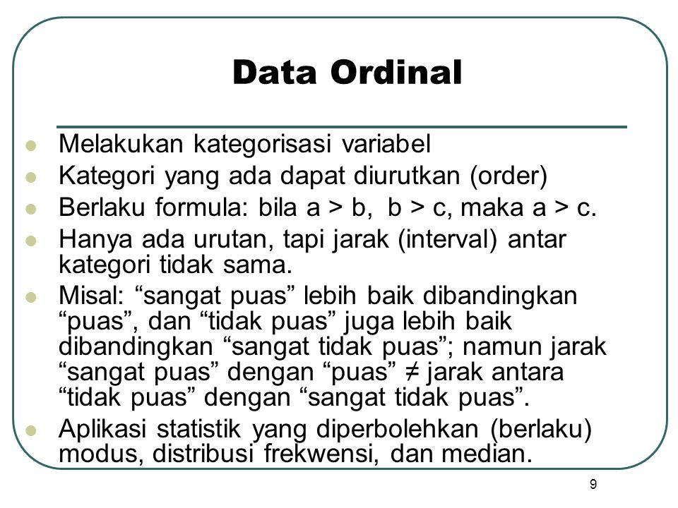 Data Ordinal  Melakukan kategorisasi variabel  Kategori yang ada dapat diurutkan (order)  Berlaku formula: bila a > b, b > c, maka a > c.  Hanya a