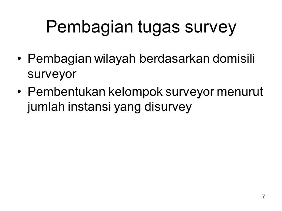 7 Pembagian tugas survey •Pembagian wilayah berdasarkan domisili surveyor •Pembentukan kelompok surveyor menurut jumlah instansi yang disurvey