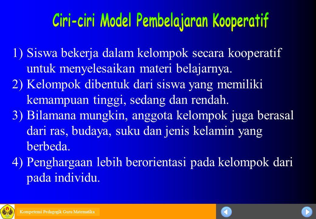 Sosialisasi KTSP 1)Siswa bekerja dalam kelompok secara kooperatif untuk menyelesaikan materi belajarnya. 2)Kelompok dibentuk dari siswa yang memiliki