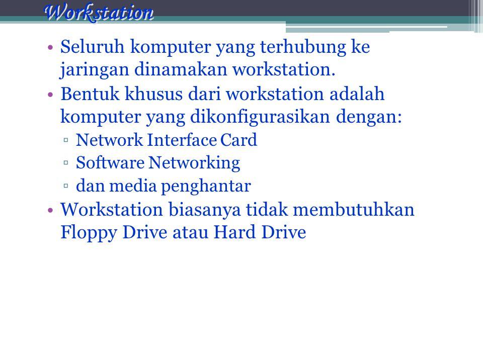 Workstation •Seluruh komputer yang terhubung ke jaringan dinamakan workstation.