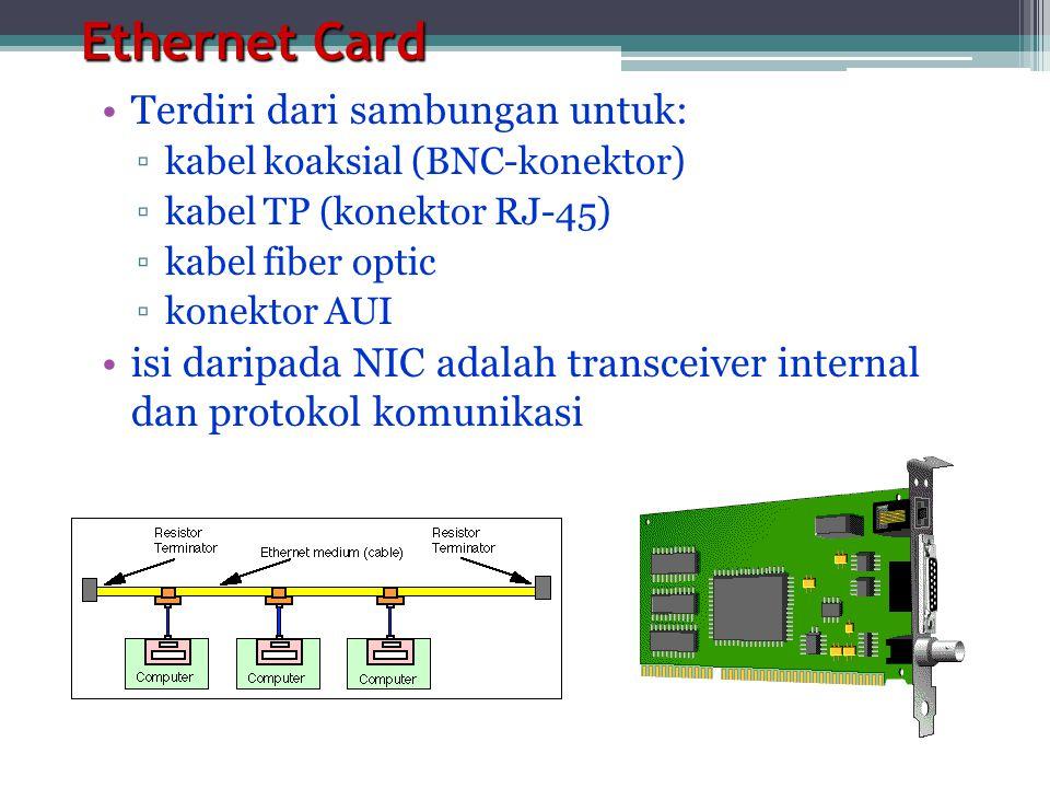 Ethernet Card •Terdiri dari sambungan untuk: ▫kabel koaksial (BNC-konektor) ▫kabel TP (konektor RJ-45) ▫kabel fiber optic ▫konektor AUI •isi daripada NIC adalah transceiver internal dan protokol komunikasi