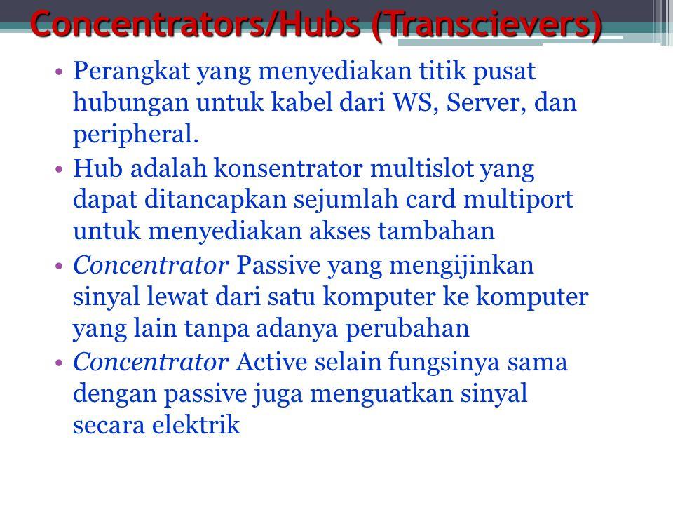 Concentrators/Hubs (Transcievers) •Perangkat yang menyediakan titik pusat hubungan untuk kabel dari WS, Server, dan peripheral.
