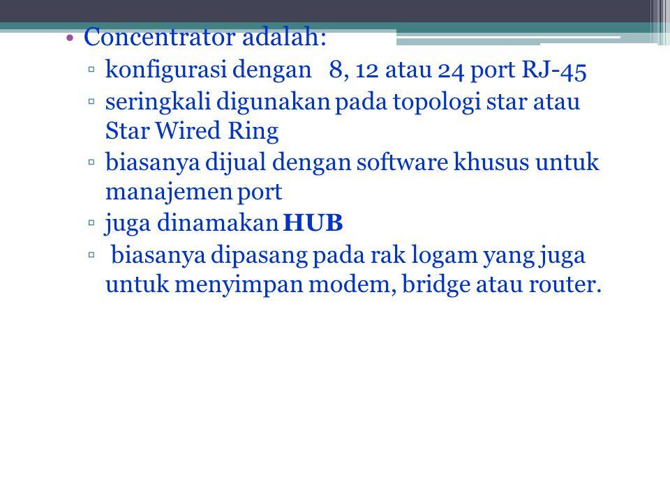 •Concentrator adalah: ▫konfigurasi dengan 8, 12 atau 24 port RJ-45 ▫seringkali digunakan pada topologi star atau Star Wired Ring ▫biasanya dijual dengan software khusus untuk manajemen port ▫juga dinamakan HUB ▫ biasanya dipasang pada rak logam yang juga untuk menyimpan modem, bridge atau router.