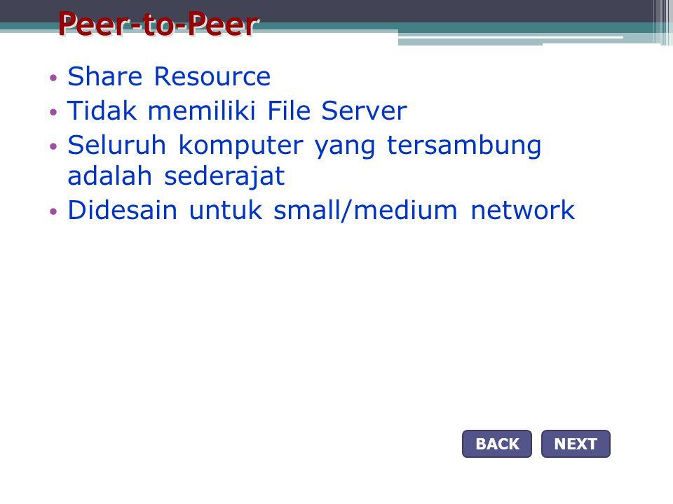 Peer-to-Peer • Share Resource • Tidak memiliki File Server • Seluruh komputer yang tersambung adalah sederajat • Didesain untuk small/medium network NEXTBACK