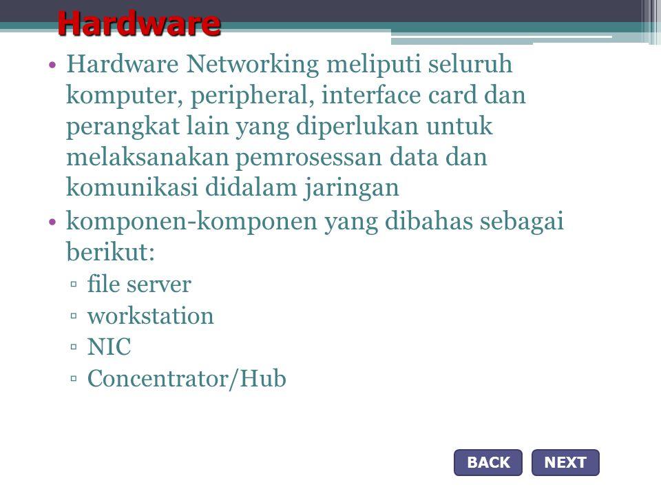 Hardware •Hardware Networking meliputi seluruh komputer, peripheral, interface card dan perangkat lain yang diperlukan untuk melaksanakan pemrosessan data dan komunikasi didalam jaringan •komponen-komponen yang dibahas sebagai berikut: ▫file server ▫workstation ▫NIC ▫Concentrator/Hub NEXTBACK