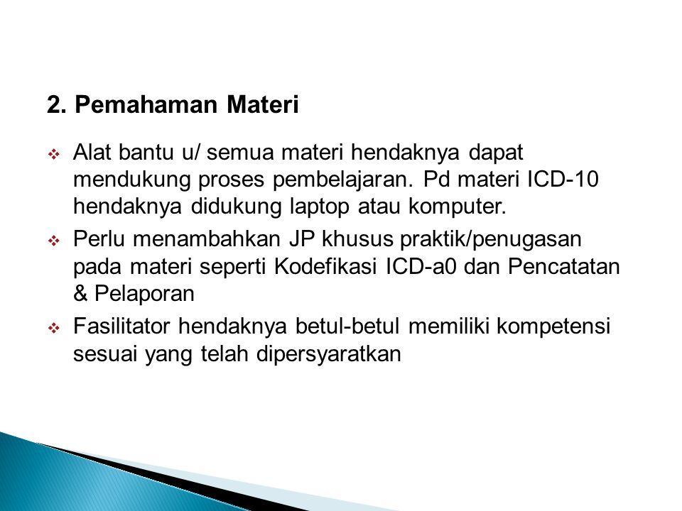 2. Pemahaman Materi  Alat bantu u/ semua materi hendaknya dapat mendukung proses pembelajaran. Pd materi ICD-10 hendaknya didukung laptop atau komput