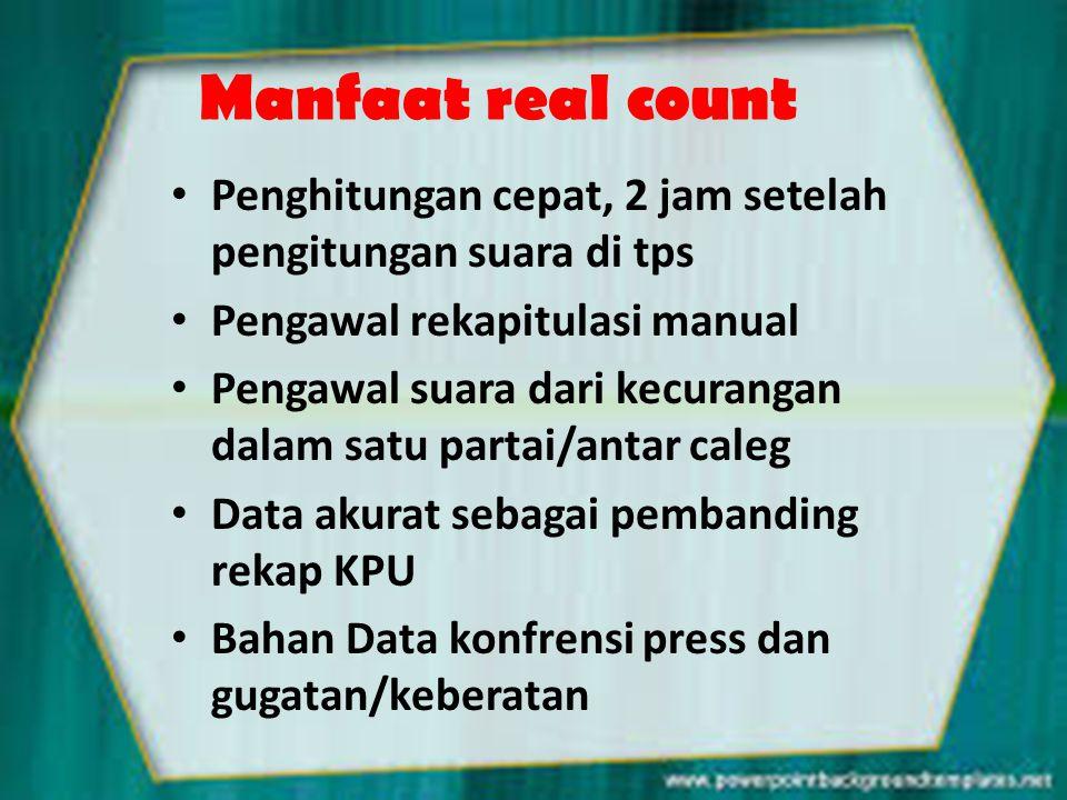 Manfaat real count • Penghitungan cepat, 2 jam setelah pengitungan suara di tps • Pengawal rekapitulasi manual • Pengawal suara dari kecurangan dalam