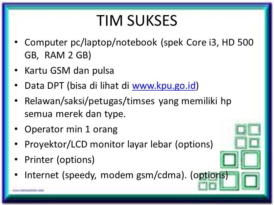 TIM SUKSES • Computer pc/laptop/notebook (spek Core i3, HD 500 GB, RAM 2 GB) • Kartu GSM dan pulsa • Data DPT (bisa di lihat di www.kpu.go.id)www.kpu.