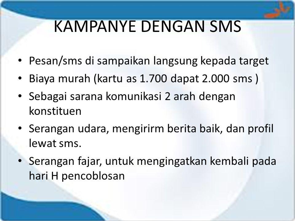 KAMPANYE DENGAN SMS • Pesan/sms di sampaikan langsung kepada target • Biaya murah (kartu as 1.700 dapat 2.000 sms ) • Sebagai sarana komunikasi 2 arah