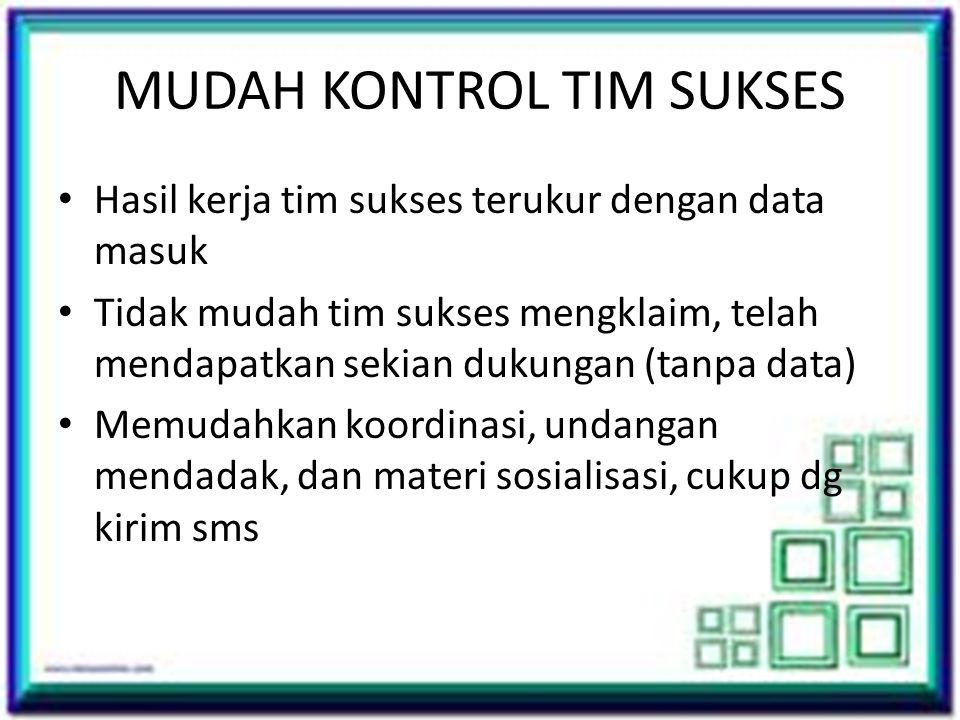 MUDAH KONTROL TIM SUKSES • Hasil kerja tim sukses terukur dengan data masuk • Tidak mudah tim sukses mengklaim, telah mendapatkan sekian dukungan (tan