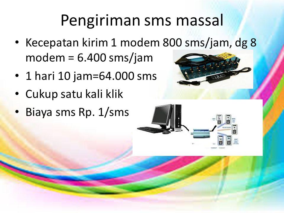 Pengiriman sms massal • Kecepatan kirim 1 modem 800 sms/jam, dg 8 modem = 6.400 sms/jam • 1 hari 10 jam=64.000 sms • Cukup satu kali klik • Biaya sms