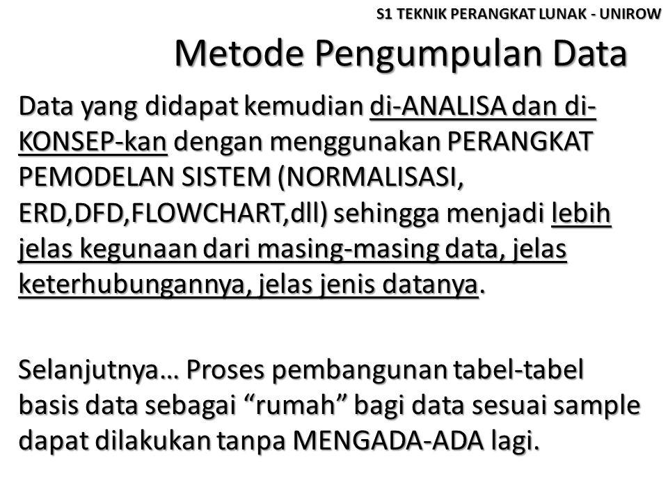 Metode Pengumpulan Data Data yang didapat kemudian di-ANALISA dan di- KONSEP-kan dengan menggunakan PERANGKAT PEMODELAN SISTEM (NORMALISASI, ERD,DFD,F