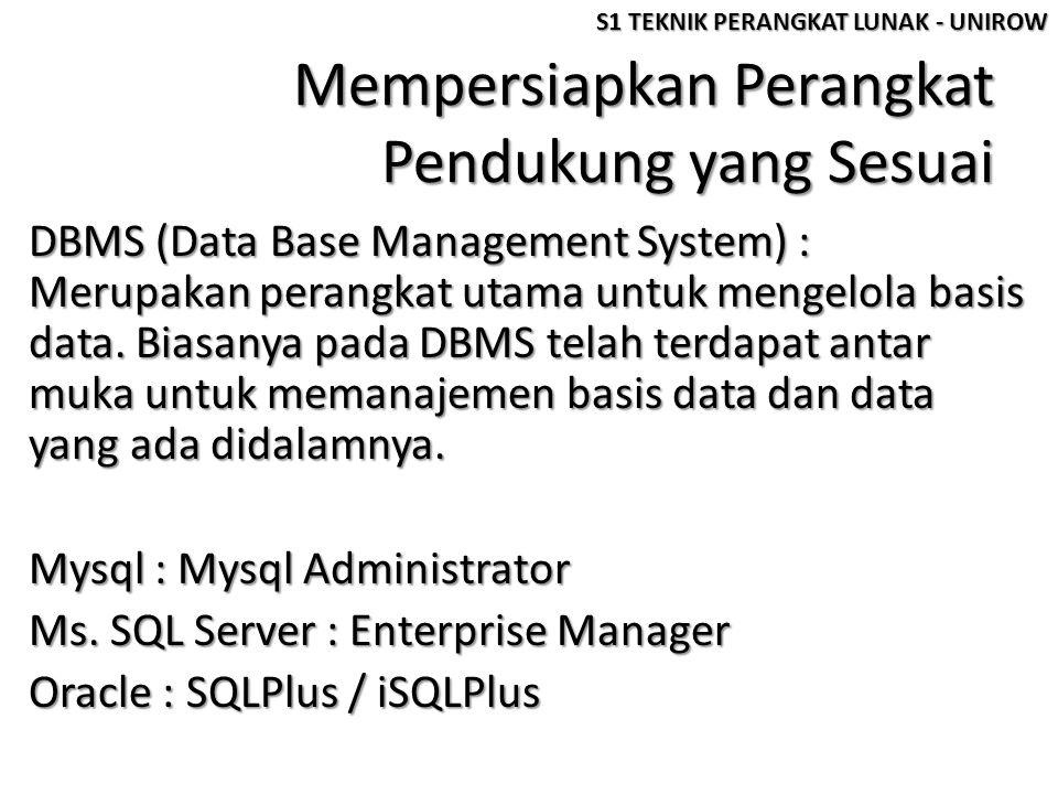 Mempersiapkan Perangkat Pendukung yang Sesuai DBMS (Data Base Management System) : Merupakan perangkat utama untuk mengelola basis data. Biasanya pada