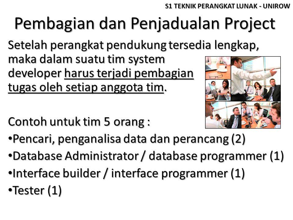 Pembagian dan Penjadualan Project Setelah perangkat pendukung tersedia lengkap, maka dalam suatu tim system developer harus terjadi pembagian tugas ol