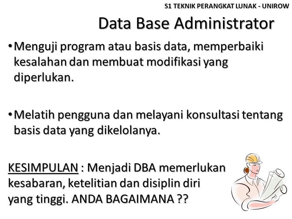 Data Base Administrator • Menguji program atau basis data, memperbaiki kesalahan dan membuat modifikasi yang diperlukan. • Melatih pengguna dan melaya