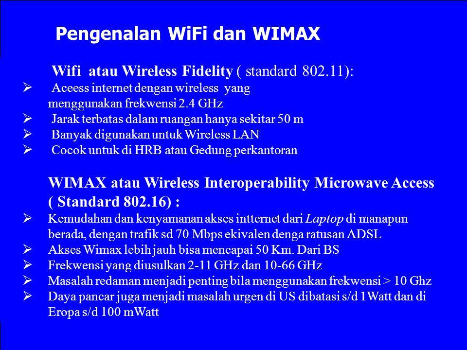 Pengenalan WiFi dan WIMAX Wifi atau Wireless Fidelity ( standard 802.11):  Aceess internet dengan wireless yang menggunakan frekwensi 2.4 GHz  Jarak