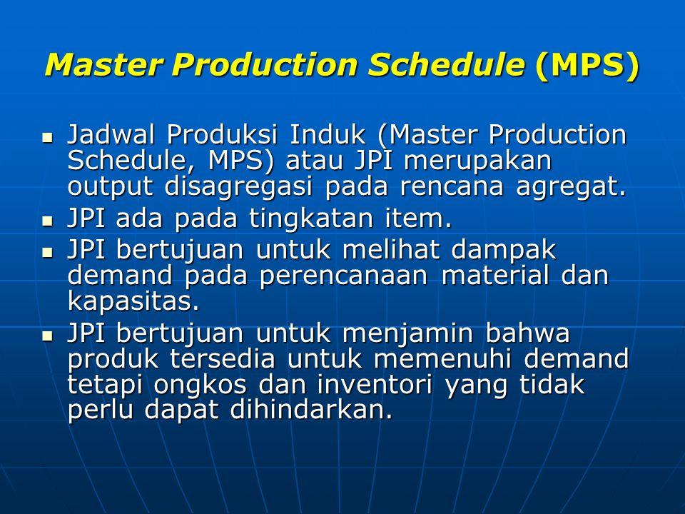 Master Production Schedule (MPS)  Jadwal Produksi Induk (Master Production Schedule, MPS) atau JPI merupakan output disagregasi pada rencana agregat.