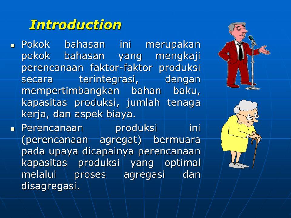 Introduction  Pokok bahasan ini merupakan pokok bahasan yang mengkaji perencanaan faktor-faktor produksi secara terintegrasi, dengan mempertimbangkan