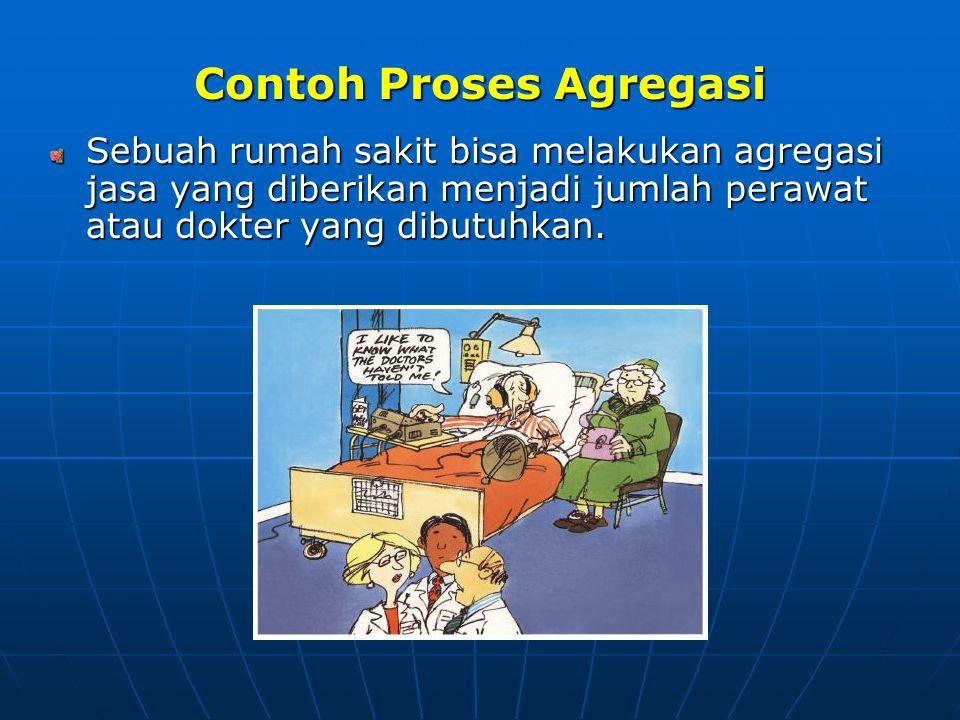 Contoh Proses Agregasi Sebuah rumah sakit bisa melakukan agregasi jasa yang diberikan menjadi jumlah perawat atau dokter yang dibutuhkan.