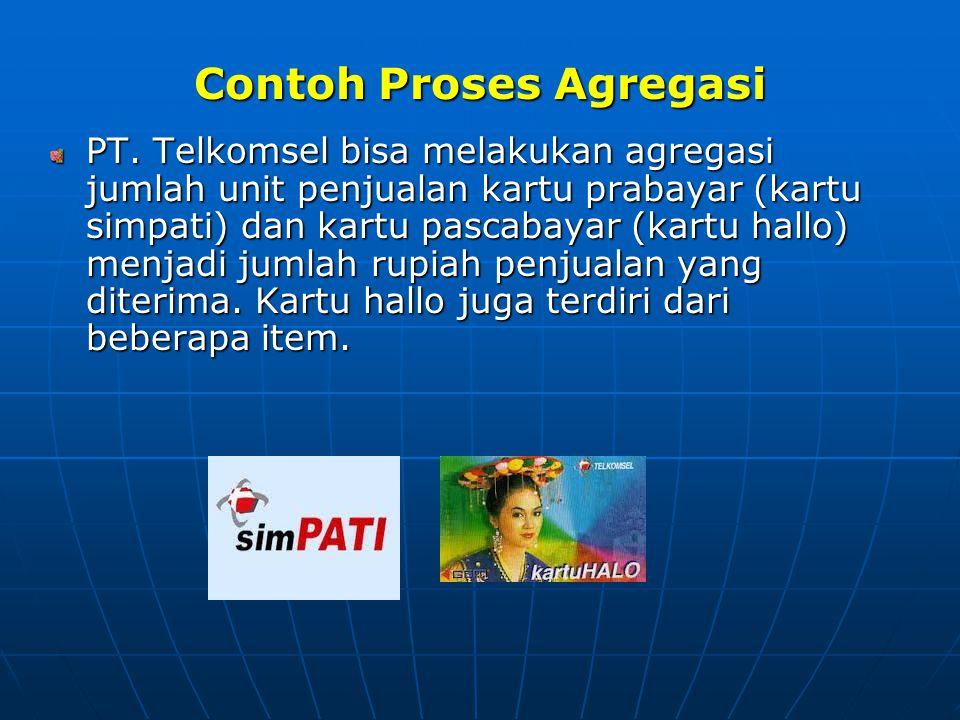 Contoh Proses Agregasi PT. Telkomsel bisa melakukan agregasi jumlah unit penjualan kartu prabayar (kartu simpati) dan kartu pascabayar (kartu hallo) m