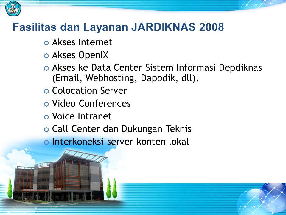 Fasilitas dan Layanan JARDIKNAS 2008 Akses Internet Akses OpenIX Akses ke Data Center Sistem Informasi Depdiknas (Email, Webhosting, Dapodik, dll). Co