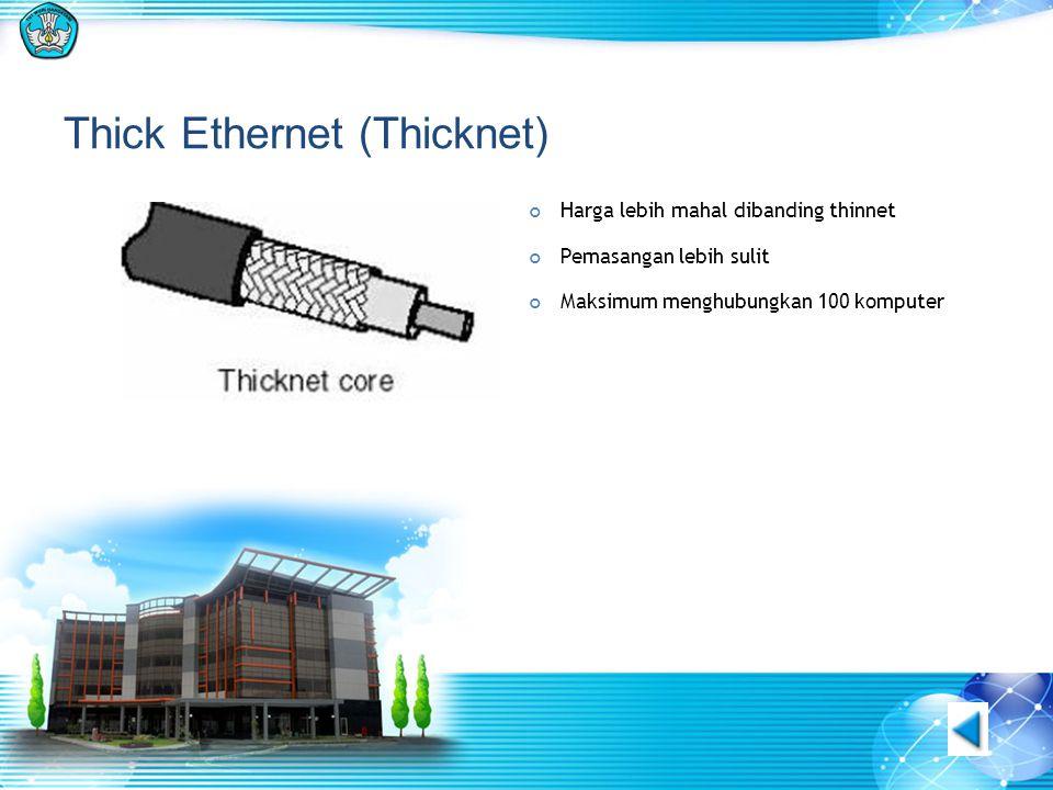 Thick Ethernet (Thicknet) Harga lebih mahal dibanding thinnet Pemasangan lebih sulit Maksimum menghubungkan 100 komputer