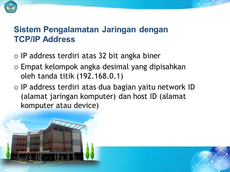 Sistem Pengalamatan Jaringan dengan TCP/IP Address IP address terdiri atas 32 bit angka biner Empat kelompok angka desimal yang dipisahkan oleh tanda