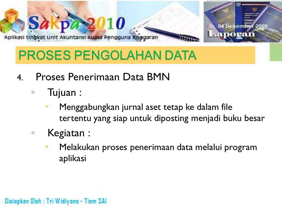 PROSES PENGOLAHAN DATA 4. Proses Penerimaan Data BMN ◦ Tujuan :  Menggabungkan jurnal aset tetap ke dalam file tertentu yang siap untuk diposting men