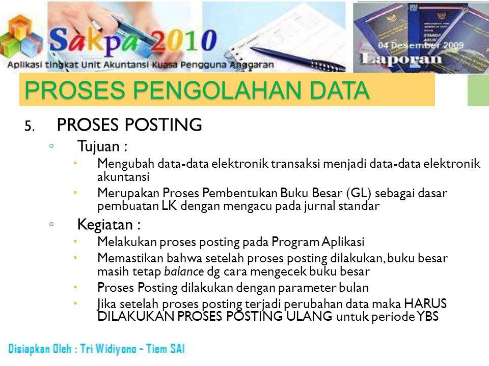 PROSES PENGOLAHAN DATA 5. PROSES POSTING ◦ Tujuan :  Mengubah data-data elektronik transaksi menjadi data-data elektronik akuntansi  Merupakan Prose