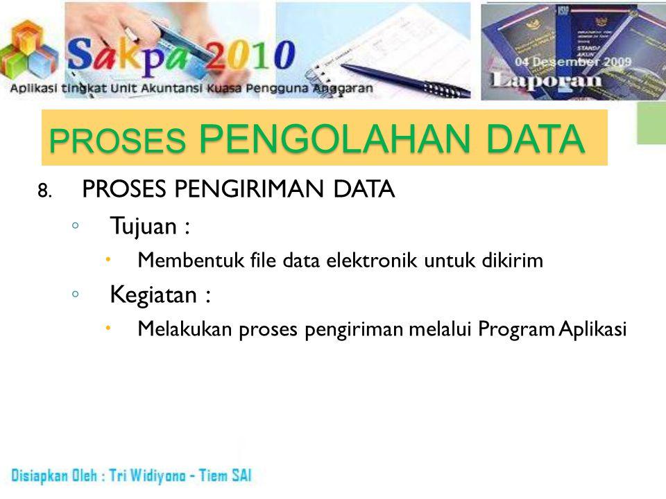 PROSES PENGOLAHAN DATA 8. PROSES PENGIRIMAN DATA ◦T◦T ujuan : MMembentuk file data elektronik untuk dikirim ◦K◦K egiatan : MMelakukan proses pengi