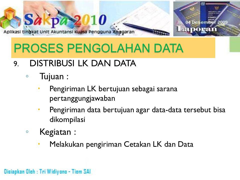 PROSES PENGOLAHAN DATA 9. DISTRIBUSI LK DAN DATA ◦ Tujuan :  Pengiriman LK bertujuan sebagai sarana pertanggungjawaban  Pengiriman data bertujuan ag