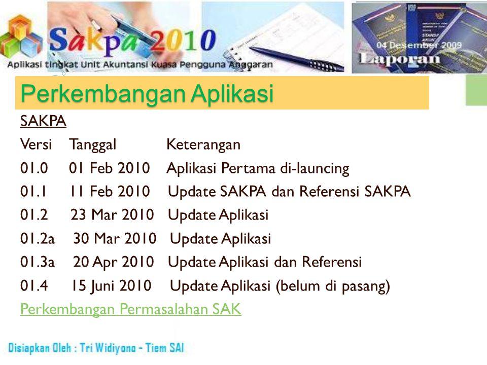 Perkembangan Aplikasi SAKPA VersiTanggalKeterangan 01.001 Feb 2010Aplikasi Pertama di-launcing 01.111 Feb 2010 Update SAKPA dan Referensi SAKPA 01.2 2