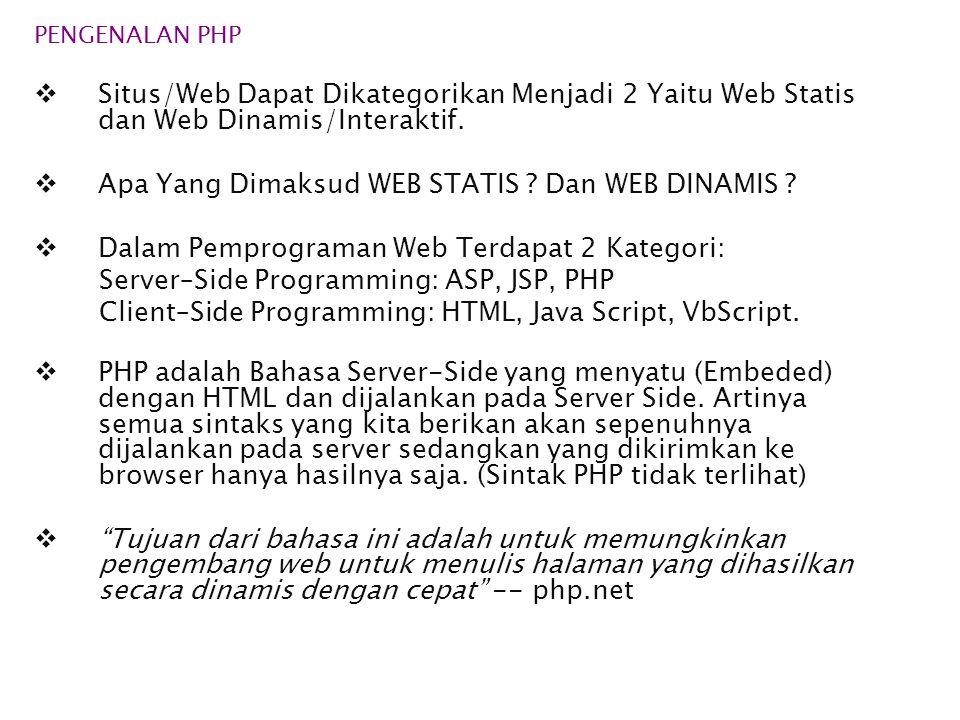 PENGENALAN PHP  Situs/Web Dapat Dikategorikan Menjadi 2 Yaitu Web Statis dan Web Dinamis/Interaktif.