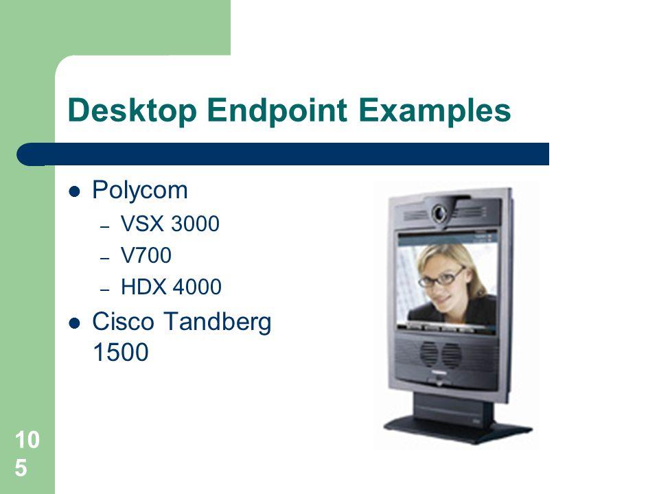 Desktop Endpoint Examples  Polycom – VSX 3000 – V700 – HDX 4000  Cisco Tandberg 1500 105