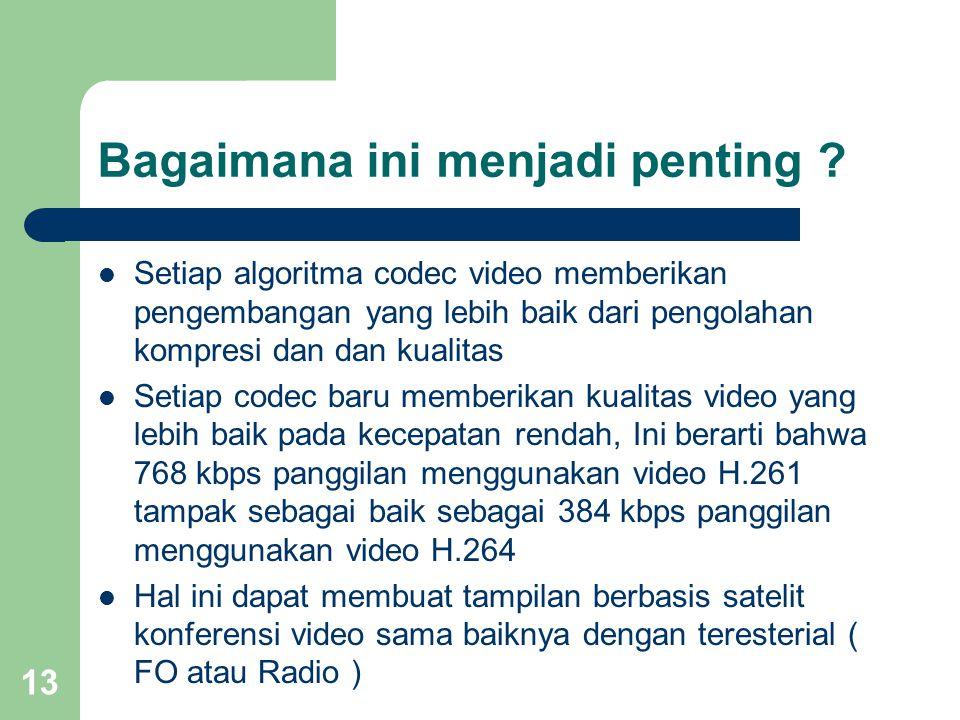 13 Bagaimana ini menjadi penting ?  Setiap algoritma codec video memberikan pengembangan yang lebih baik dari pengolahan kompresi dan dan kualitas 