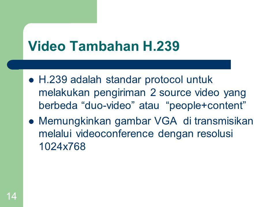 14 Video Tambahan H.239  H.239 adalah standar protocol untuk melakukan pengiriman 2 source video yang berbeda duo-video atau people+content  Memungkinkan gambar VGA di transmisikan melalui videoconference dengan resolusi 1024x768