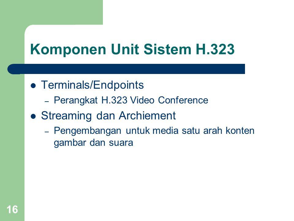 16 Komponen Unit Sistem H.323  Terminals/Endpoints – Perangkat H.323 Video Conference  Streaming dan Archiement – Pengembangan untuk media satu arah konten gambar dan suara