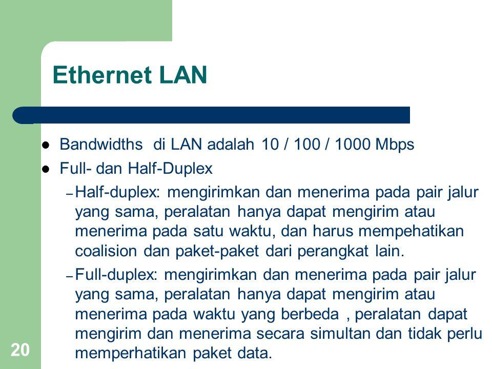 20 Ethernet LAN  Bandwidths di LAN adalah 10 / 100 / 1000 Mbps  Full- dan Half-Duplex – Half-duplex: mengirimkan dan menerima pada pair jalur yang sama, peralatan hanya dapat mengirim atau menerima pada satu waktu, dan harus mempehatikan coalision dan paket-paket dari perangkat lain.