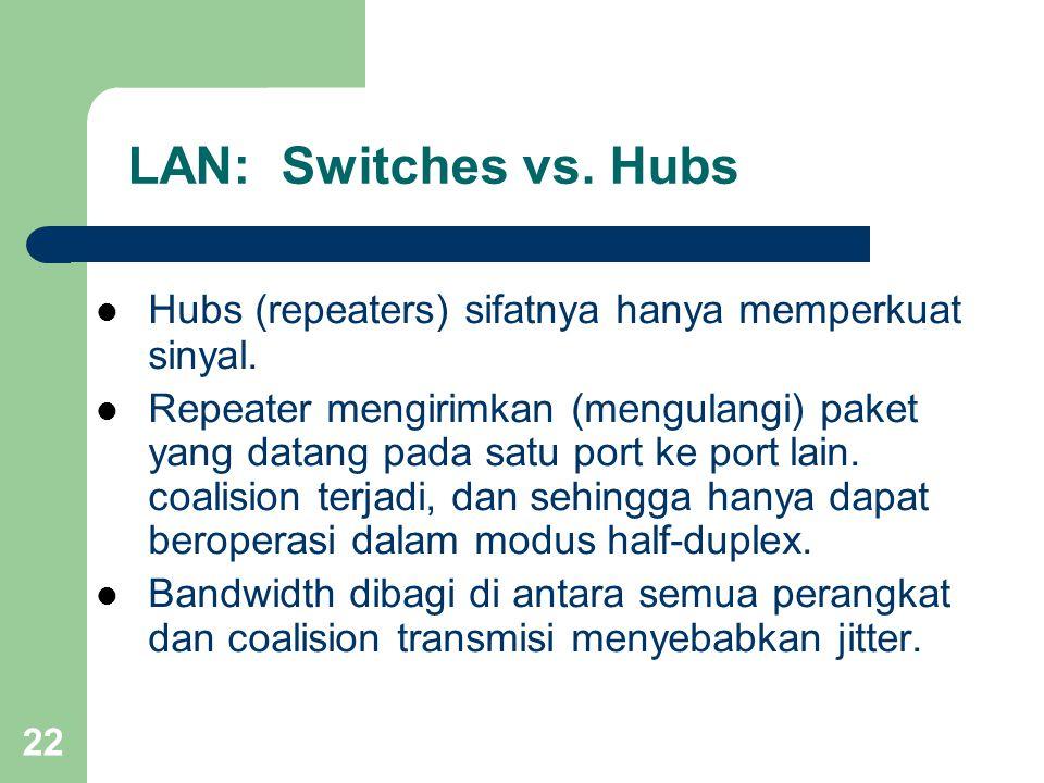 22 LAN: Switches vs. Hubs  Hubs (repeaters) sifatnya hanya memperkuat sinyal.  Repeater mengirimkan (mengulangi) paket yang datang pada satu port ke