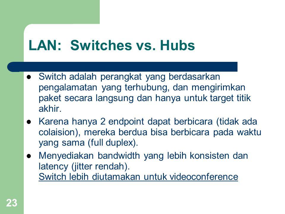 23 LAN: Switches vs. Hubs  Switch adalah perangkat yang berdasarkan pengalamatan yang terhubung, dan mengirimkan paket secara langsung dan hanya untu