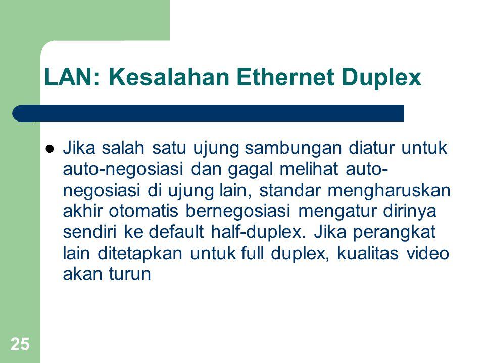 25 LAN: Kesalahan Ethernet Duplex  Jika salah satu ujung sambungan diatur untuk auto-negosiasi dan gagal melihat auto- negosiasi di ujung lain, standar mengharuskan akhir otomatis bernegosiasi mengatur dirinya sendiri ke default half-duplex.