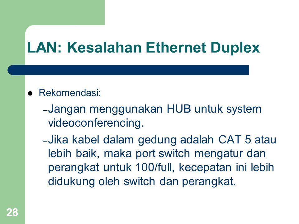 28 LAN: Kesalahan Ethernet Duplex  Rekomendasi: – Jangan menggunakan HUB untuk system videoconferencing. – Jika kabel dalam gedung adalah CAT 5 atau